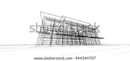 Abstract Architecture Drawing Stock Illustration 444344707