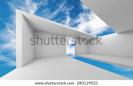 Abstract architecture, empty white futuristic interior and blue sky on a background, 3d illustration - stock photo