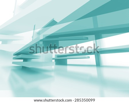 Abstract Architecture Futuristic Blue Design Background. 3d Render Illustration - stock photo