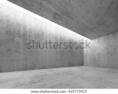 Abstract architecture interior background, concrete room with white lighting in ceiling, 3d illustration