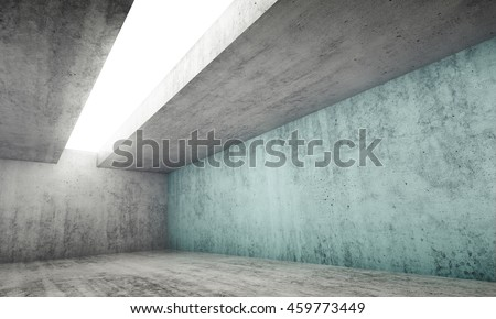 Abstract architecture interior background, empty gray concrete room with white light opening in ceiling and one green blue wall, 3d illustration