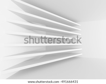 Abstract Architecture Minimalistic White Background. 3d Render Illustration