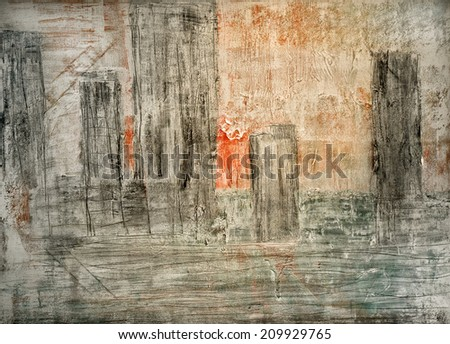 Abstract architecture Painting  oil on Canvas - stock photo