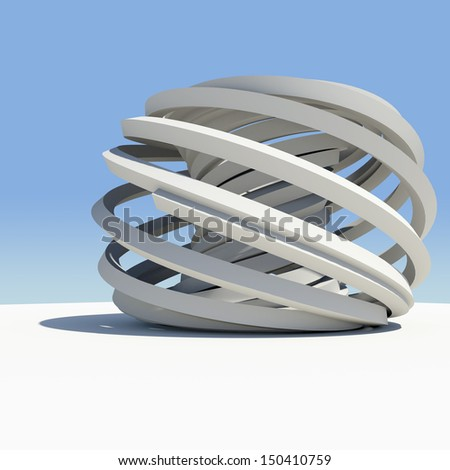 Abstract architecture. Render on the sky background - stock photo