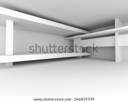 Abstract Architecture White Design Background. 3d Render Illustration - stock photo