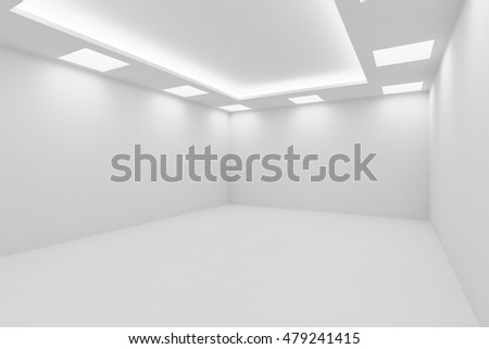 Abstract architecture white room interior - empty white room with white wall, white floor, white ceiling with square ceiling lamps and hidden ceiling lights, view from corner, 3d illustration