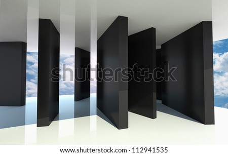 Abstract architecture with black partition and blue sky on background - stock photo