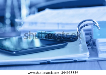 Abstract archive concept with ring binder  - stock photo