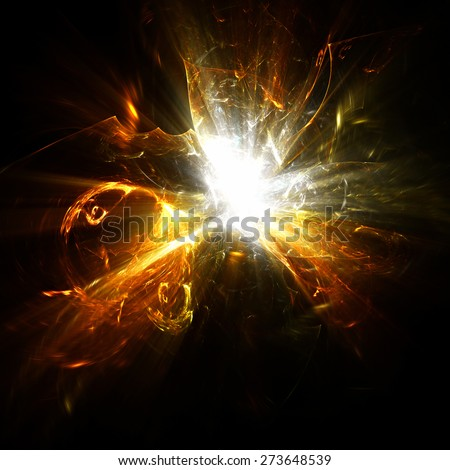 Abstract ardent background. Glowing dynamic template with lighting effect for creative design. Futuristic explosion for wallpaper desktop, poster, cover booklet, flyer. Fractal art - stock photo