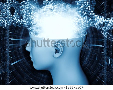 Abstract arrangement of human head and symbolic elements suitable as background for projects on human mind, consciousness, imagination, science and creativity - stock photo