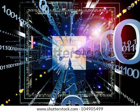 Abstract arrangement of technological and abstract design elements suitable as background for projects on digital equipment, computing and modern technologies