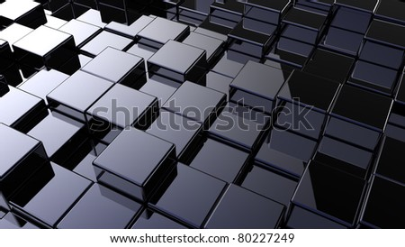 Abstract array of shinny cubes of different height - stock photo