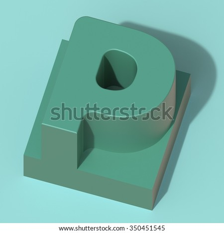 abstract art ABC, 3d letter P - stock photo