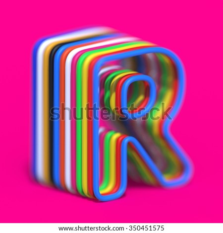abstract art ABC, 3d letter R - stock photo