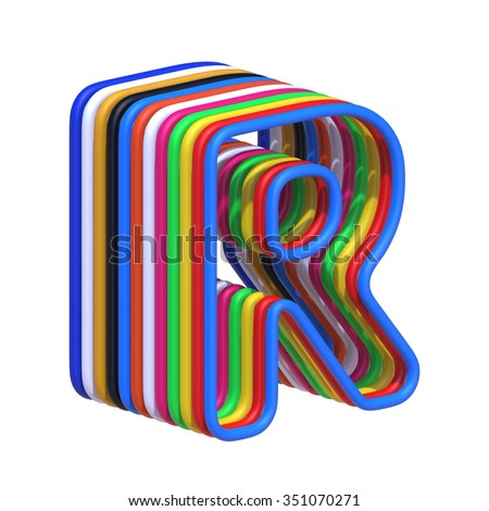 abstract art ABC, 3d letter R isolated on white background - stock photo