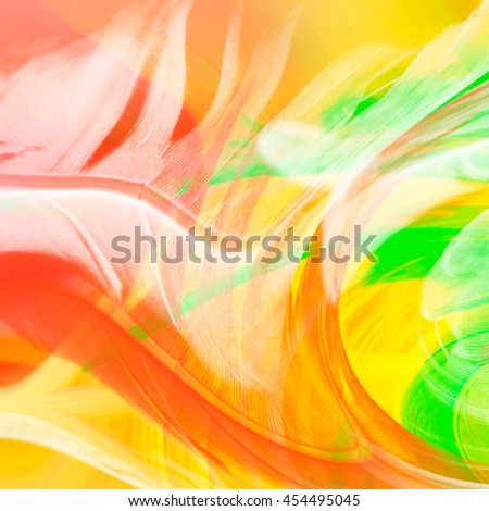 Abstract Art background backdrop swirl yellow red orange green white swipe swish swirl spin background backdrop vivid  - stock photo