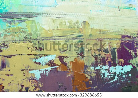 Abstract art  background. Oil painting on canvas. Green and brown  texture. Fragment of artwork. Spots of oil paint. Brushstrokes of paint. Modern art. Contemporary art. - stock photo