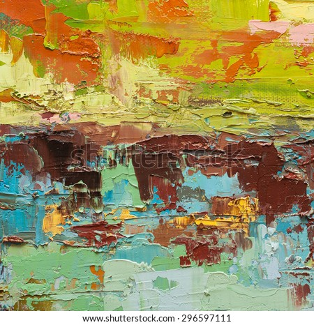 Abstract art  background. Oil painting on canvas. Green and yellow  texture. Fragment of artwork. Spots of oil paint. Brushstrokes of paint. Modern art. Contemporary art. - stock photo