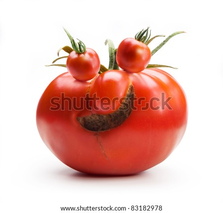 abstract Art funny Mr.Tomato isolated on white - stock photo