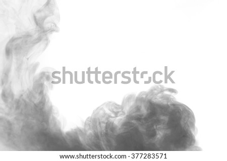 Abstract art. Grey smoke hookah on a white background. Inhalation. Steam Generator. The concept of aromatherapy.