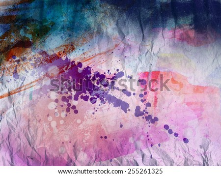 Abstract art - hand painted canvas background - mixed analog and digital techniques - stock photo