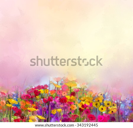 Abstract art oil painting of summer-spring flowers. Cornflower, daisy flower in fields. Meadow landscape with wildflower, Yellow-red Sky color background. Hand Paint floral Impressionist style - stock photo
