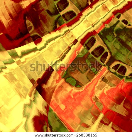 Abstract Art Painting. Modern Style Paint Pattern. Digital Artistic Illustration. Beautiful Watercolor Design. Acrylic or Pastel or Oil Painted Backdrop. Creative Fractal Deco. Brown Green Red Colors. - stock photo