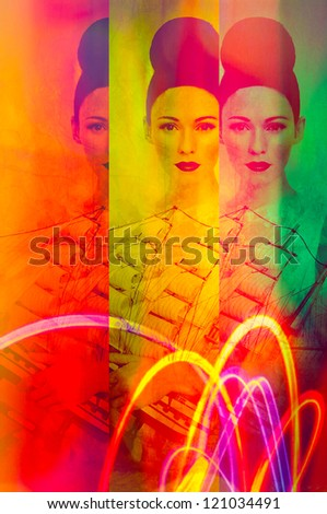 abstract art portrait women face neon with ship. Photo based illustration . Extreme texture and grain added. - stock photo