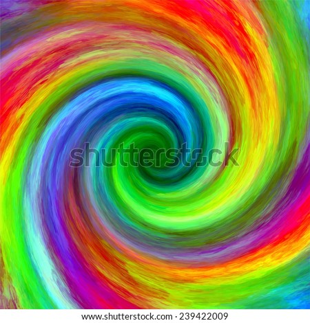 Abstract art swirl rainbow grunge color paint splash spiral background - stock photo