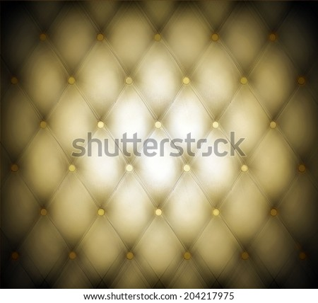 Abstract art used skin background texture of old natural luxury modern style rhombs leather. Classic light gray and dark yellow grungy decor retro wall, door, sofa, studio interior with metal buttons.