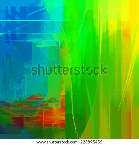 Abstract art yellow and green background - stock photo