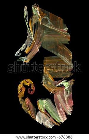 Abstract artificial computer generated iterative flame fractal art image of a seahorse hippocampus - stock photo