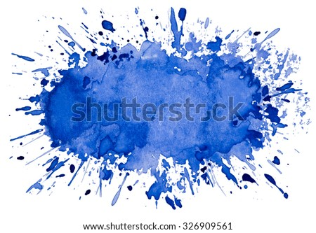 Abstract artistic blue watercolor splash object background - stock photo
