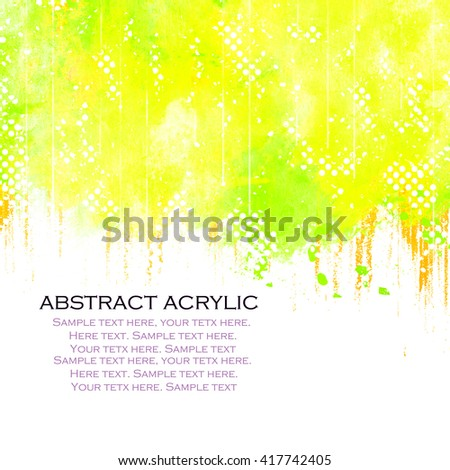 Abstract artistic messy watercolor border background.