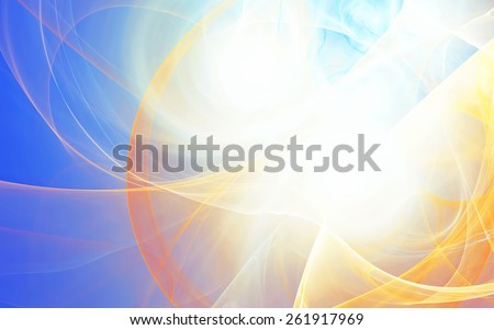 Abstract artistic shiny background with lighting effect. Summer air template. Golden futuristic pattern for wallpaper desktop, poster, cover flyer. Fractal artwork for creative graphic design. - stock photo
