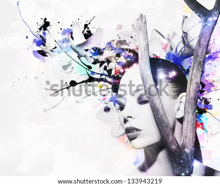 Abstract Artwork with beautiful Woman - stock photo