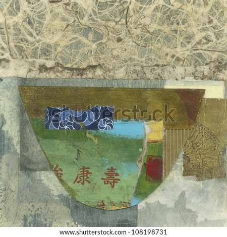 Abstract asian paper collage of a bowl.