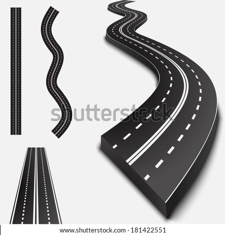 Abstract asphalt road isolated on white with shadows - stock photo