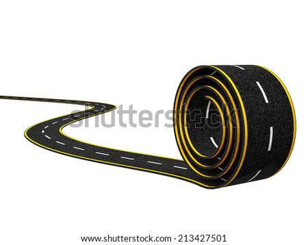 Abstract Asphalt Winding Road with Yellow Line on White Background - stock photo