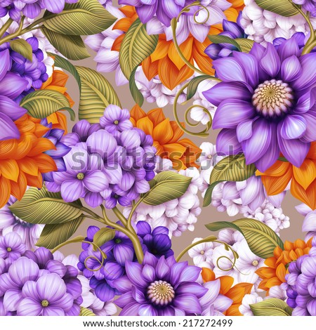 abstract assorted flowers, floral seamless pattern, colorful background illustration - stock photo