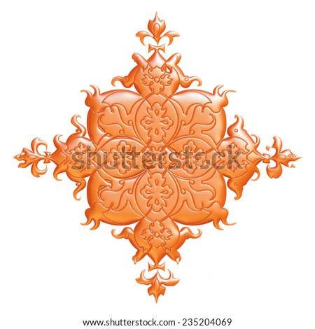 Abstract Autumn Orange 3d Floral design on white background.