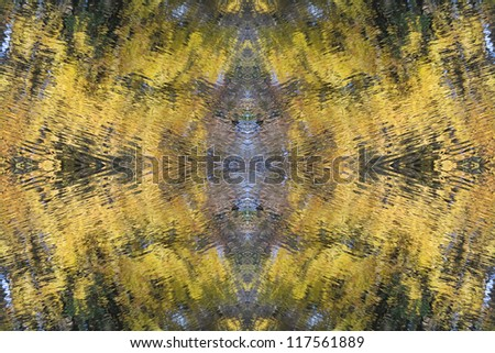 Abstract Autumn wallpaper based on the autumn leave reflections - stock photo