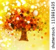 Abstract autumnal tree on lights background. - stock photo