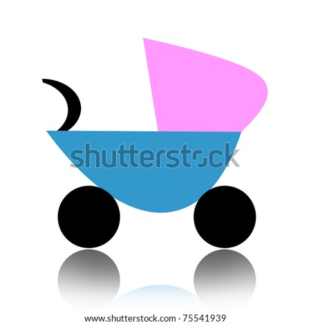 Abstract baby carriage isolated over white background - stock photo