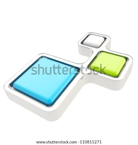 Abstract backdrop three segment glossy chrome metal and colorful plastic plate composition isolated on white background - stock photo