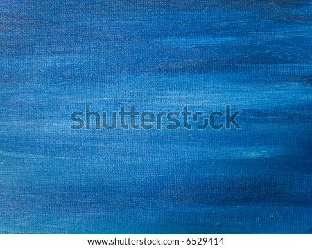 Abstract background - a blue oil painted canvas - stock photo