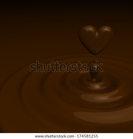 Abstract background as a chocolate cream glossy waves with a heart like drop in the cente - stock photo