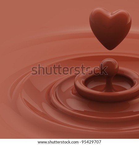 Abstract background as a chocolate cream glossy waves with a heart like drop in the center - stock photo