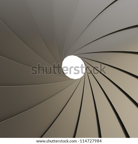Abstract background as a shutter mechanism made of black metal with an empty space in the center