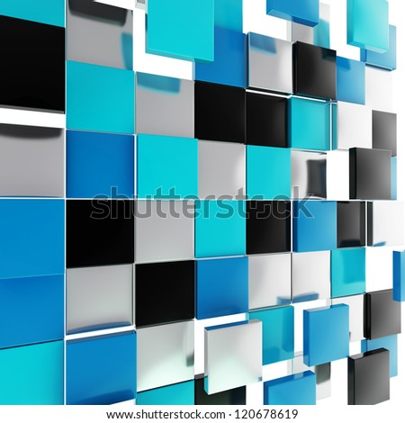 Abstract background backdrop made of glossy black, blue and chrome metal square plates - stock photo